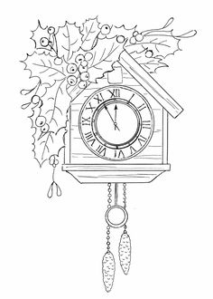 Ручная работа: Бой часов раздастся вскоре... Christmas Colors, Winter Christmas, Embroidery Patterns, Hand Embroidery, Clock Icon, Christmas Coloring Pages, Digi Stamps, Line Drawing, Paper Cutting
