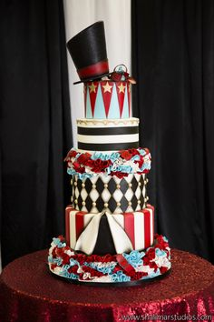 Las Vegas Wedding Planner, Circus, Couture, Photo Shoot, Red, Gerber Daisies, Popcorn, Circus Cake, Vintage Weights, Ring Toss, Knock Down The Cans, Stripes, Sequin Linens, Circus Make up, Diamond Pattern