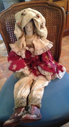 vintage primative cloth doll in victorian style clothing