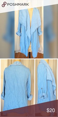 """NWOT mock denim over shirt NWOT mock denim over shirt in a size small but can also fit up to a medium. Fabric is 100% tencel and machine washable. The length is approx 26"""" and measures approx 17"""" armpit to armpit. Made in the USA 🇺🇸 vibrant Tops"""