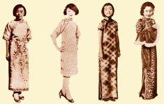 左1为穿花缎短袖旗袍的妇女。左2为穿素色短袖旗袍的妇女。左3为穿高领短袖斜格纹旗袍的妇女。右图为穿短袖长旗袍的妇女。