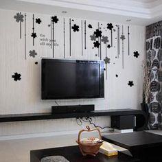 ufingodecor fiori neri branello tenda adesivi murali camera da letto soggiorno adesivi da parete removibili