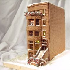 A gingerbread brownstone