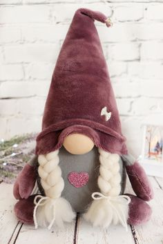 Gnomes Purple couple Scandinavian plush ornament toy Tomte Nordic New Year home decor Nisse holiday gift elf Christmas Angel Ornaments, Christmas Gnome, Christmas Deco, Christmas Crafts, Craft Free, Crochet Crafts, Homemade Gifts, How To Introduce Yourself, Succulent Planters