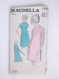 Maudella 5495 - size 20 bust 40, hip 43 - dress 8 pieces. Printed paper sleeve containing thin paper pattern for dress.