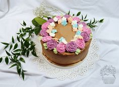 Coffee cake decorated with flowers ;)