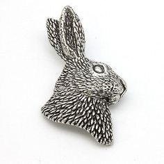 Pewter #brooch pin hare head quality hunting #shooting #badge silver,  View more on the LINK: http://www.zeppy.io/product/gb/2/332056146129/