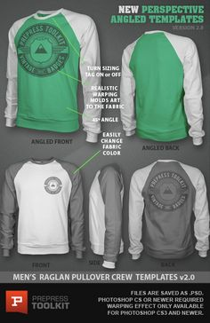 Ghosted Raglan Crew Pullover Design Template PSD