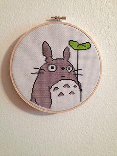 Totoro cross stitch wall hanging by ladyoregon on Etsy