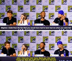 Stephen and John when discussing the draft where Oliver was actually Malcolm's son. #Arrow #SDCC2016
