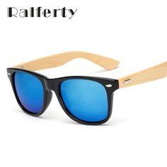 859911cd5e Ralferty Retro Wood Sunglasses Men Bamboo Sunglass Women Brand Design Sport  Goggles Gold Mirror Sun Glasses