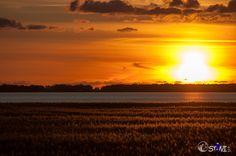 Sunset over the Bodden near Zingst East-Germany.