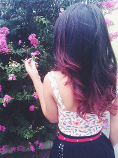 Red dip dye hair