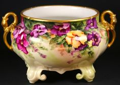 A Lovely HAND-PAINTED  PORCELAIN CACHE-POT #Limoges