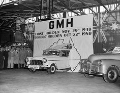 Australian History at its finest: In 1948 Australian car manufacturer General Motors-Holden produced the first all-Australian built car, the (or FX). Ten years later, when this photograph was taken, Holden had produced Holden Australia, Aussie Muscle Cars, Australian Cars, Best Classic Cars, Sports Sedan, National Archives, General Motors, Car Manufacturers, Historical Photos