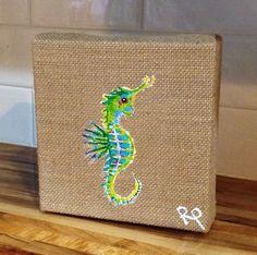 Nautical Original Acrylic seahorse painting on burlap on Etsy, $20.00
