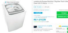 Lavadora de Roupas Electrolux 15kg Blue Touch Ultra Clean LBU15 Branco << R$ 121499 >>