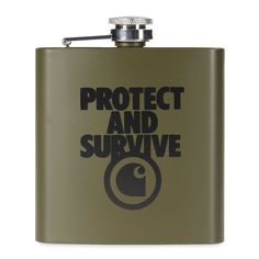 Carhartt - Protect Survive Whiskey Flask - Cypress - one size For Sale Sign, Carhartt, Graphic Prints, Flask, Whiskey, Barware, Great Gifts, Survival, Stainless Steel