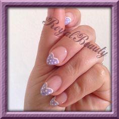 Lilac polka dot hearts...
