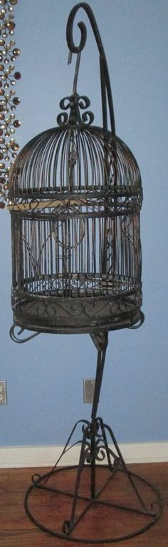 Vintage Wrought Iron Bird Cage Birdcage With Stand 6ft Large Black Pick Up Only #Hendryx