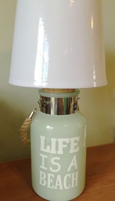 Life Is A Beach Nautical Green Glass Bottle Table Lamp, Desk Lamp, Glass  Bottle Lamp, Small Table Lamp, Small