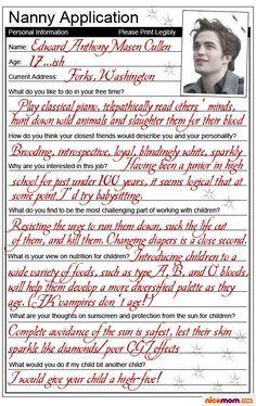 I'm anti-twilight. So this is funny bc it's also anti-twilight Twilight Jokes, Twilight Saga Quotes, Twilight Wolf, Twilight Saga Series, Twilight Edward, Twilight Movie, Twilight Outfits, A Nanny, Robert Pattinson Twilight