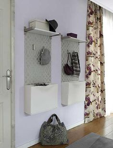 space saving entryway design with white wall-mounted shoe storage cabinets