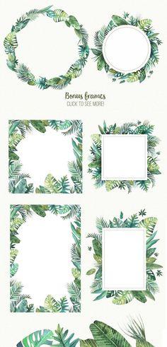 botanical leaf frames clip art