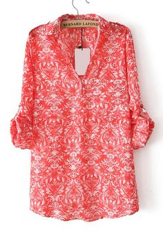 Red Floral V-neck Long Sleeve Loose Polyester Blouse
