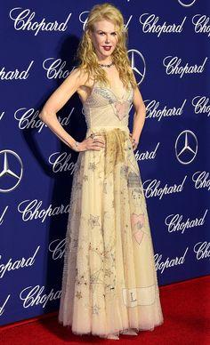 Nicole Kidman in a printed cream Dior dress