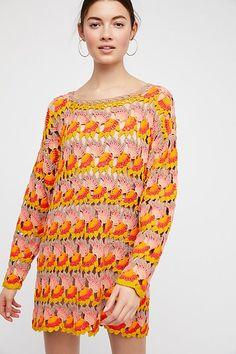 Slide View 1: Little Fan Crochet Stripe Sweater