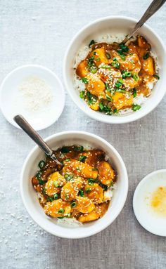 30-Minute Sesame Mango Chicken Teriyaki - with simple, natural ingredients and without refined sugar or cornstarch. You will not believe how easy this is!