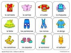 free spanish cards flashcards kids small children preschool kindergarten first grade clothing clothes la ropa