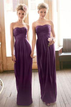 Elegant Column Sweetheart Pleated Chiffon Floor-Length Bridesmaid Dresses - by OKDress UK