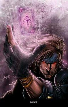 Oneof my Favorite X-Men - The always sarcastic Gambit Comic Book Characters, Comic Book Heroes, Marvel Characters, Comic Character, Comic Books Art, Comic Art, Comic Pics, Gambit Marvel, Gambit X Men