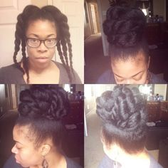 Gather hair and put in a high ponytail… Make three twists on both sides… Take each twist to the opposite side and pin them each down… As for the remaining of hanging ends of twists swoop toward the back around bun and pin them down. Facebook:Pinkstarnute