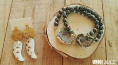Handmade shell earrings & Druzy bracelets by UNIQ|JWLZ. www.facebook.com /uniq-jwlz