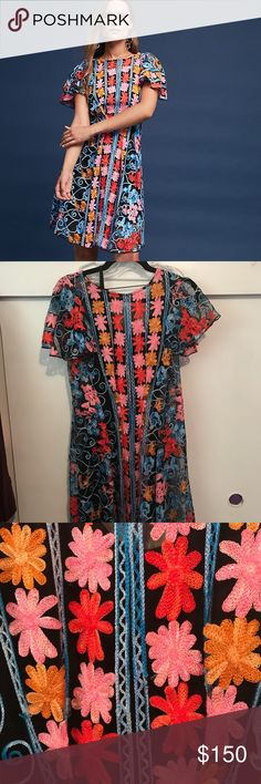 """Ferrah embroidered dress by Eva Franco Cotton, polyester, polyester lining. Back zip. Bust 17"""",Waist 14"""", length 36"""" Anthropologie Dresses"""