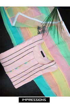 Plain Powder pink and white Cotton Kurta set with Patchwork Kota doria duppatta #cottonsuits #kota #kotadoria #multicolor #pink #white #powderpink #summervibes #summerkurtas #impressionsdesignstudios Powder Pink, White Cotton, Pink White, Scrappy Quilts