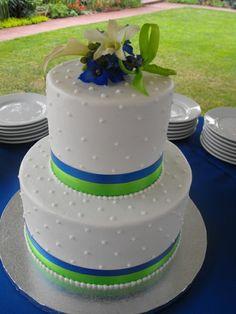 Royal blue and lime green wedding cake!!!