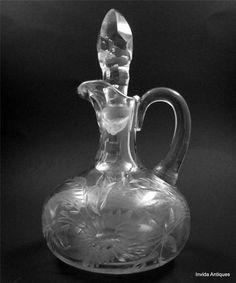 Beautiful Antique Cut Glass Cruet with Etched or Cut Flower Motif & Stopper