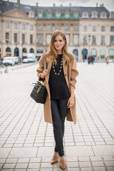 Pleather leggings & camel trench