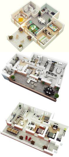25 More 3 Bedroom Floor Plans Home Decor Bedroom House Plans 3d House Plans, Bungalow House Plans, House Blueprints, Dream House Plans, Small House Plans, Apartment Floor Plans, Bedroom Floor Plans, Bedroom Layouts, House Layouts