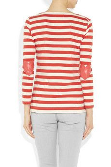 CHINTI AND PARKER  Heart elbow-patch cotton top