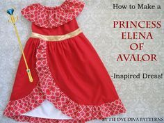 How to Make A Princess Elena of Avalor Dress for Halloween, free sewing tutorial to modify the Daydreamer Dress Pattern.
