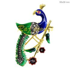0.43Ct Pave Diamond Peacock Brooch Pendant Fashion 925 Sterling Silver Jewelry