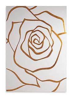 Stunning in its simplicity, and a beautiful addition to any interior, this stylized rose wall art piece is created with gold intarsia expertly handcarved into wood with a french white finish. Canvas Art Projects, Diy Canvas, Painted Canvas, Hand Painted, Diy Wall Art, Wood Wall Art, Wal Art, Gold Leaf Art, Wall Design