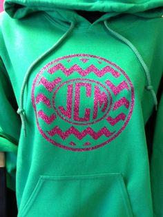 Glitter heat press. Circle monogram. Chevron. Hoodie. Sweatshirt. T shirt