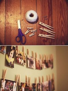 I love pictures on a string with clothespins! So cute! Maybe strung on Christmas lights instead?
