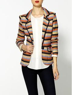 Textured muti-colored striped blazer, white mandarin blouse, dark jeans